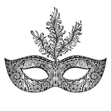caretas teatro: Vector adornado máscara veneciana del carnaval de flores con plumas Vectores