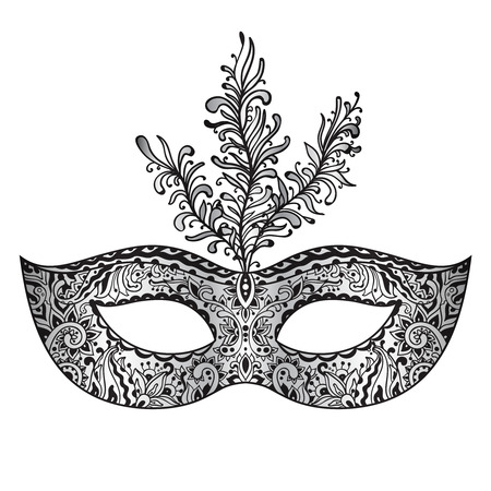 venice carnival: Vector ornate floral Venetian carnival mask with feathers