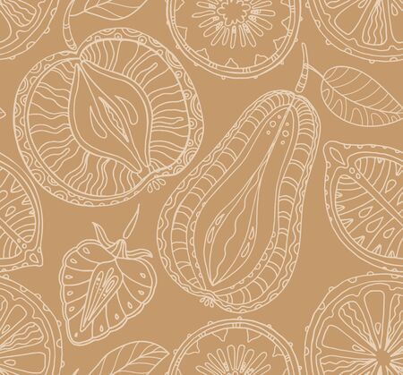 green background texture: Seamless fruits pattern. Abstract background with fruits. Healthy food texture. Vector illustration Illustration