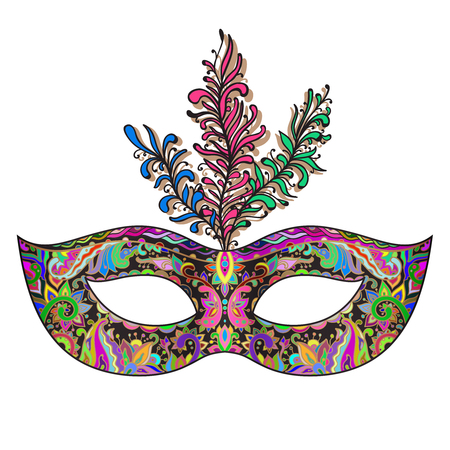 Vector ornate floral Venetian carnival mask with feathers