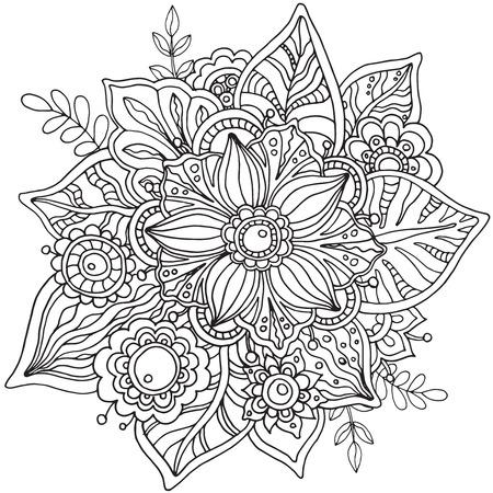 落書きスタイルで美しいグラフィックのベクターの花