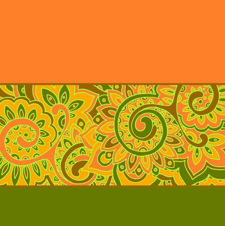 indian traditional: Vector background with color strips and floral pattern