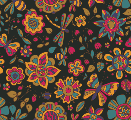 色とりどりの美しい花、トンボ、蝶、甲虫、果実とシームレスなパターン ベクトル