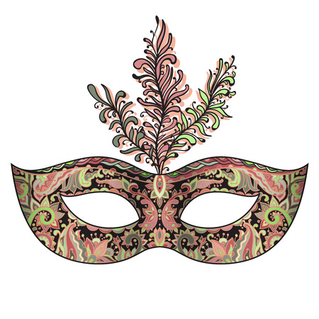 decoration decorative disguise: Vector ornate floral Venetian carnival mask with feathers