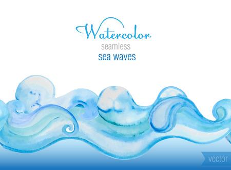 水彩のベクトルの背景。海の波の水平のシームレスなベクトル パターン。