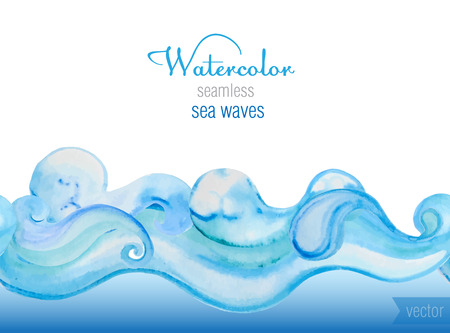 at sea: Vector watercolor background. Horizontal  seamless vector pattern of sea waves.