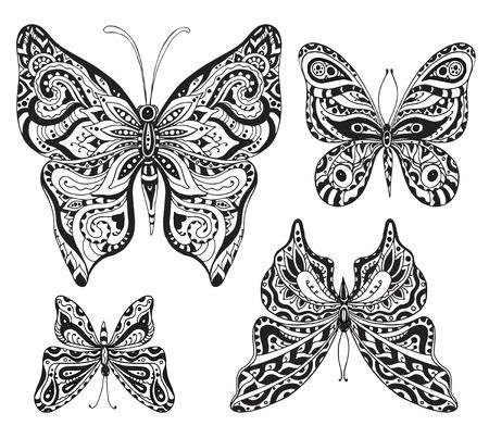 白い背景に分離された黒と白の装飾用蝶のベクトルを設定します。タトゥーのデザイン
