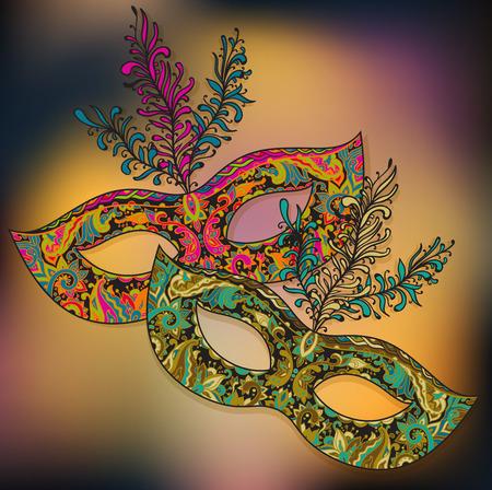 羽を持つ 2 つの華やかな花のベニスのカーニバル マスクのベクトル イラスト