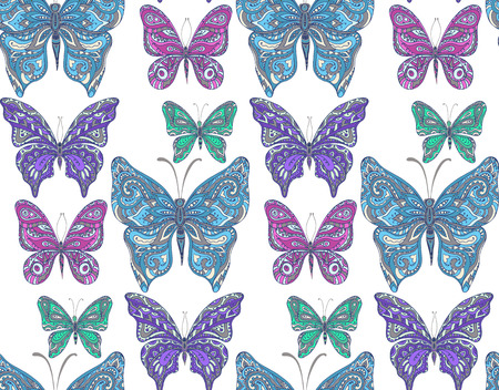 butterfly flower: Seamless pattern with hand drawn flying butterflies. Vector illustration.