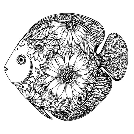 outline fish: Hand drawn fish with floral elements in black and white style Illustration