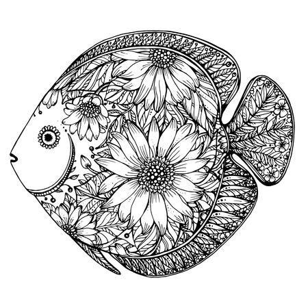 animais: Mão peixe desenhado com elementos florais no estilo preto e branco