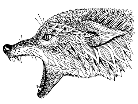 wilkołak: Wzorzyste głowa wilka. Tribal Totem etniczne, projekt tatuażu. Ręcznie rysowane abstrakcyjne grafiki w stylu grafiki, czarno-białych ilustracji wektorowych. Może być stosowany do projektowania t-shirt, torby, pocztówka, plakat i tak dalej.