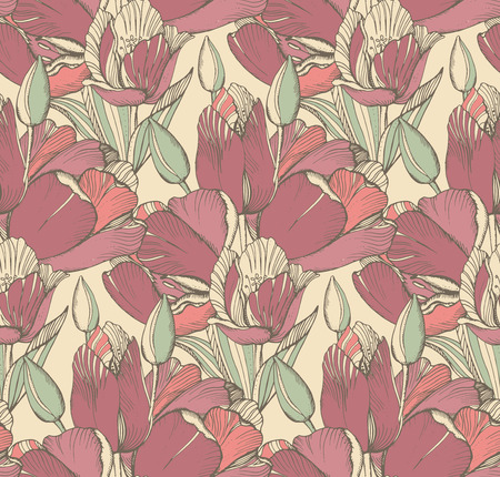 white tulip: Vector seamless pattern with graphic spring flowers (tulips) in vintage style.