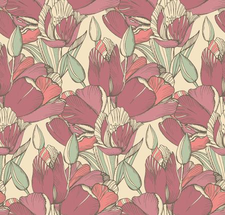 tulipan: Wektor bez szwu z wiosennych kwiatów graficznych (tulipany) w stylu vintage. Ilustracja