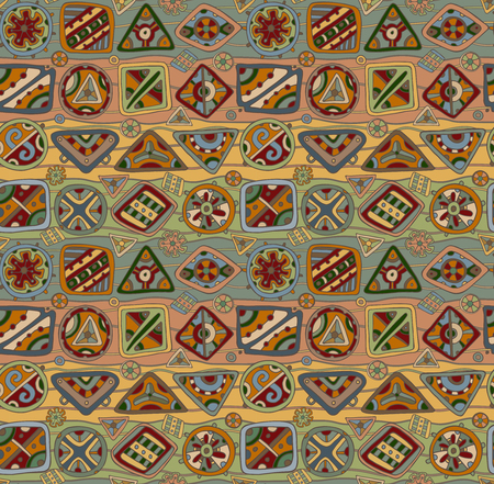 ethno: Vector seamless pattern with ethnic elements. Colorful abstract background.