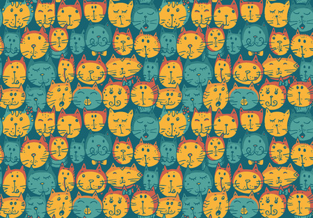kid drawing: Seamless pattern with cats faces. Funny vector background. Illustration