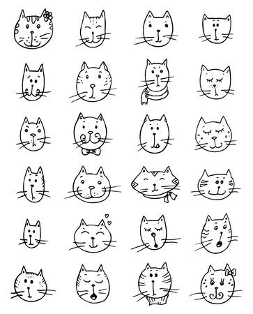 Set van gezichten schattige kat. Grappig vector doodle.
