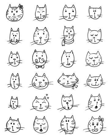 Set of cute cats faces. Funny vector doodle.