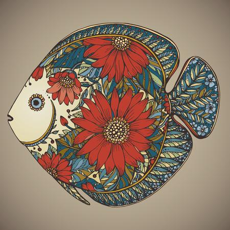 手は、黒と白のスタイルで花の要素を持つ魚を描いた