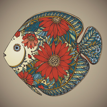 Hand drawn fish with floral elements in black and white style 일러스트