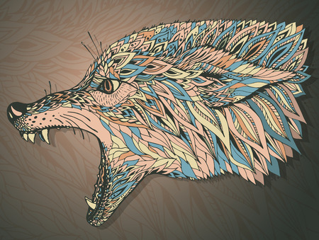 predators: Patterned head of the wolf. Tribal ethnic totem, tattoo design. Hand drawn abstract artwork in graphic style, vector illustration. It may be used for design of a t-shirt, bag, postcard, a poster and so on. Illustration