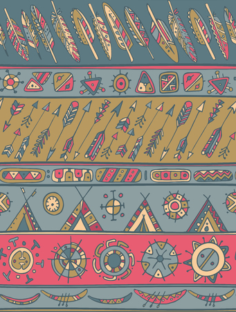 fall fashion: Ethnic pattern with ornamental stripes with arrows, feathers, houses. Texture for web, print, wallpaper, home decor, summer fall fashion textile or fabric, website background, wrapping paper. Illustration