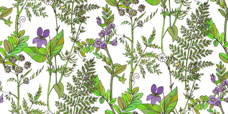 fields of flowers: Seamless vector pattern of herbs and flowers, for fabric, paper and other printing and web projects.