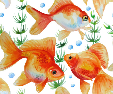 goldfishes: Watercolor pattern with goldfishes. Seamless texture with isolated hand drawn fishes and aglae.