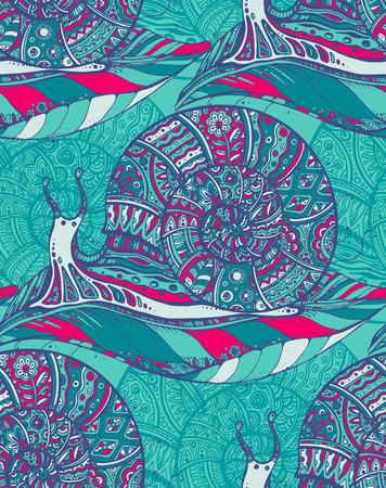 ファンタジー風の装飾的な装飾用カタツムリのシームレス パターン  イラスト・ベクター素材