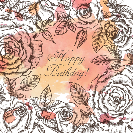 rose flowers: Vintage elegant greeting card with graphic flowers (roses). Vector illustration with watercolor background.