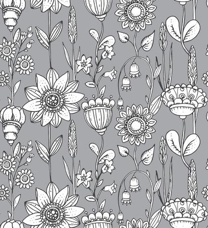 ビンテージ スタイルのファンタジー花でシームレスなパターン ベクトル