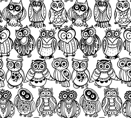 owl: Vector seamless pattern with cute monochrome owls. Hand drawn graphic design