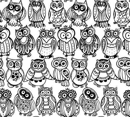 sowa: Wektor bez szwu z cute sowy monochromatycznych. Ręcznie rysowane projekt graficzny Ilustracja