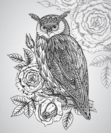 rosas negras: Ilustración del vector del tótem animal salvaje - Búho en estilo gráfico ornamentales con rosas y hojas.