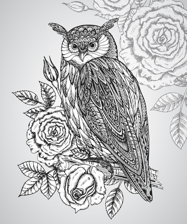black roses: Vector illustration of wild totem animal - Owl in ornamental graphic style with roses and leaves.