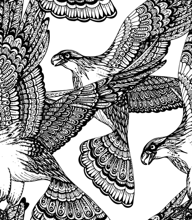 eagle tattoo: Vector hand drawn seamless pattern with decorative ornamental eagles Illustration