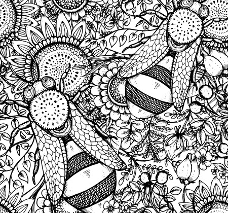 bee on white flower: Seamless vector patternn with bee, flowers and berries in graphic doodle style