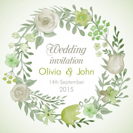 花と葉と水彩ベクトル花輪。結婚式招待状テンプレート