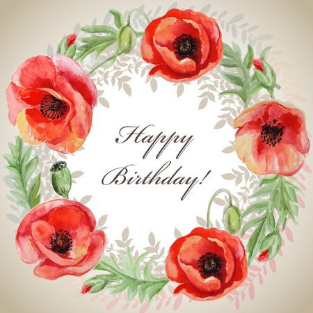 amapola: Marco del vector con las flores de amapola acuarela roja. Tarjeta de felicitación Vectores