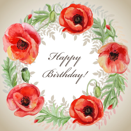 poppy flowers: Vector frame with red watercolor poppy flowers. Greeting card