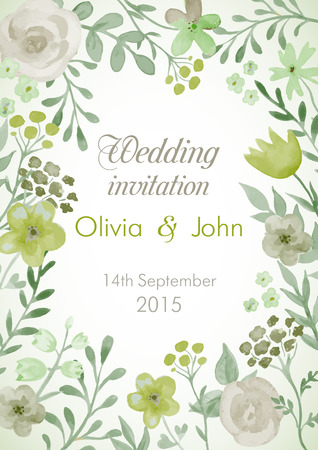 Wedding invitation with flowers and leaves. Watercolor hand painting vector frame. Vettoriali