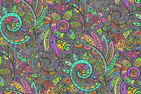 Seamless vector pattern with traditional oriental colorful floral ornament with a lot of details  in doodle style.