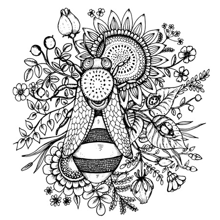 Beautiful vector illustration with bee, flowers and berries in graphic doodle style Illustration