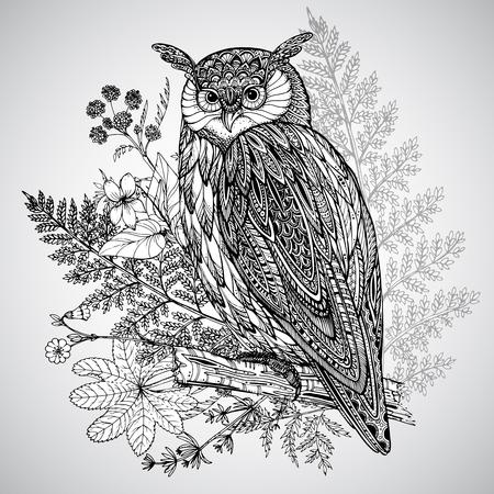 buhos: Ilustraci�n del vector del t�tem animal salvaje - B�ho en estilo gr�fico ornamentales con fondo de la acuarela
