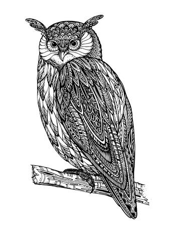 Ilustración del vector del tótem animal salvaje - Búho en estilo gráfico ornamental blanco y negro Vectores