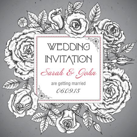 ヴィンテージ エレガントな結婚式招待状やカード日付グラフィック バラと葉を持つ。ベクトルの図。
