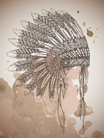 Native American indian headdress with feathers in a sketch style. Hand drawn vector illustration on watercolor background.