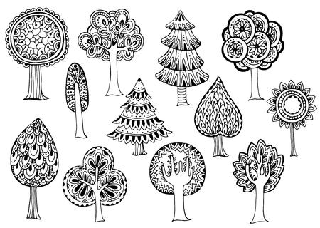 dessin noir et blanc: Tir� par la main ensemble d'arbres de vecteur dans le style doodle Illustration