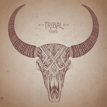 toro: Decorativo scull toro indio en el estilo tribal en el fondo del grunge. Mano vector dibujado