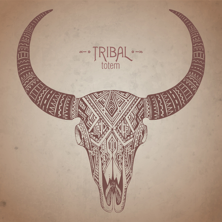 Decorative indian bull scull in tribal style on grunge background. Hand drawn vector illustration